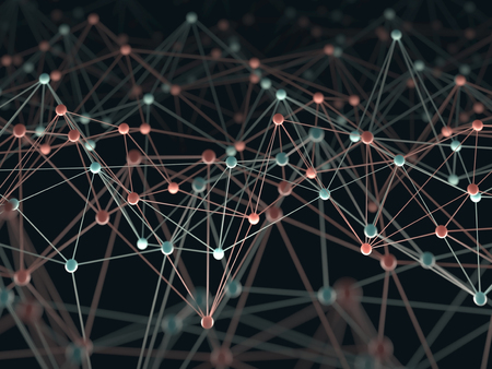 Foto de Abstract background with points and interlinked connections in a network concept. - Imagen libre de derechos