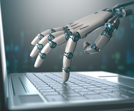 Photo pour Robotic hand, accessing on laptop, the virtual world of information. Concept of artificial intelligence and replacement of humans by machines. - image libre de droit