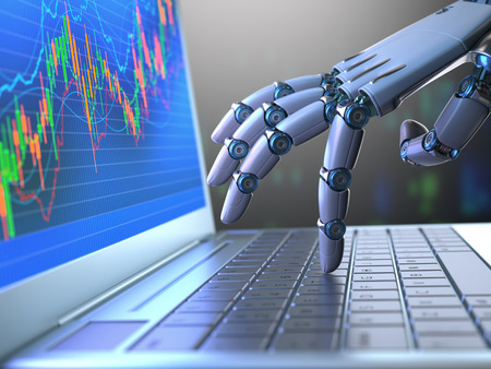 Foto de Robot hand, ordering on a laptop keyboard, an exchange trade. Robot trading system is a computer trading program that automatically submits trades to an exchange without any human interventions. Depth of field with focus on finger. - Imagen libre de derechos