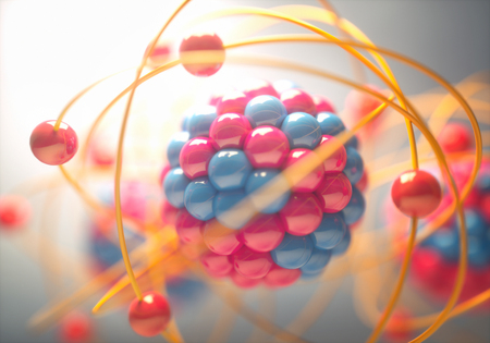 Photo for 3D Illustration of an atom, that is the smallest constituent unit of ordinary matter that has the properties of a chemical element. - Royalty Free Image