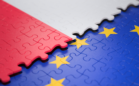 Photo pour Flag of the Poland and the European Union in the form of puzzle pieces in concept of politics and economic union. - image libre de droit