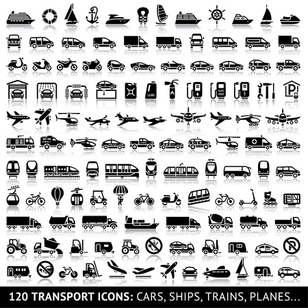 Photo pour 120 Transport icon with reflection - image libre de droit