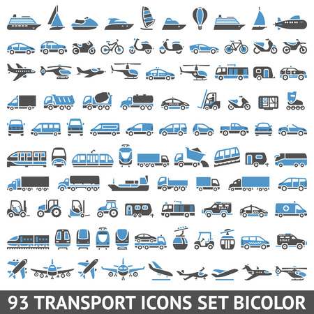 Photo pour 93 Transport icons set bicolor (blue and gray colors),  silhouettes isolated on white background - image libre de droit