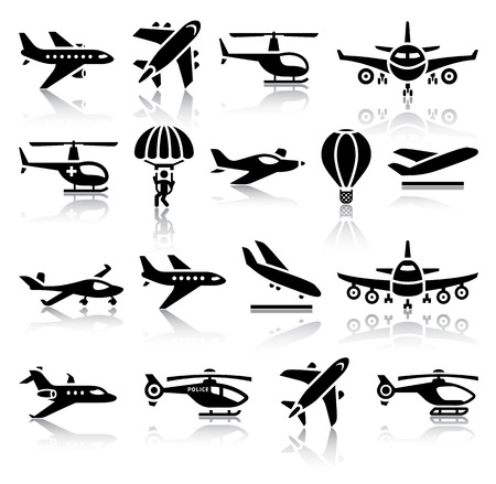 Set of aircrafts black icons  Vector illustrations, silhouettes isolated on white background