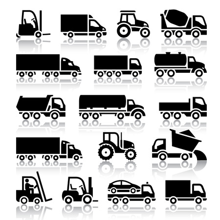Set of truck black icons  Vector illustrations, silhouettes isolated on white background