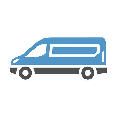 Ilustración de Van - gray blue icon isolated on white background. - Imagen libre de derechos