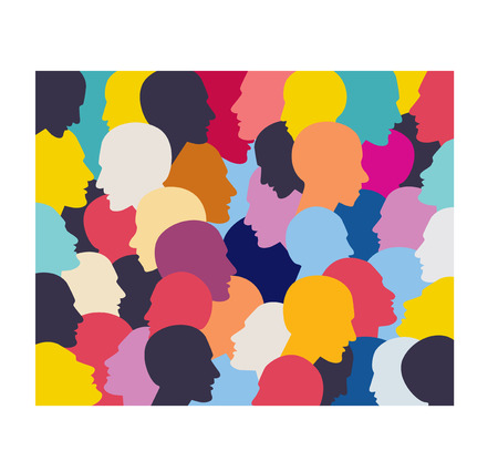 Illustration pour People profile heads background pattern. - image libre de droit