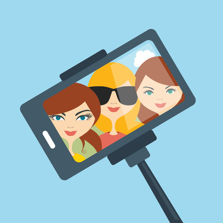 Illustration pour Selfie set photo illustration. Young girls making self portrait. Vector. - image libre de droit