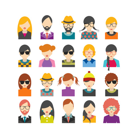 Ilustración de Big set of avatars profile pictures flat icons. Vector illustration. - Imagen libre de derechos