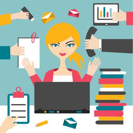 Ilustración de Woman secretary hard working. Busy business woman. - Imagen libre de derechos