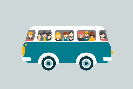 Illustration pour Retro bus with passengers. - image libre de droit