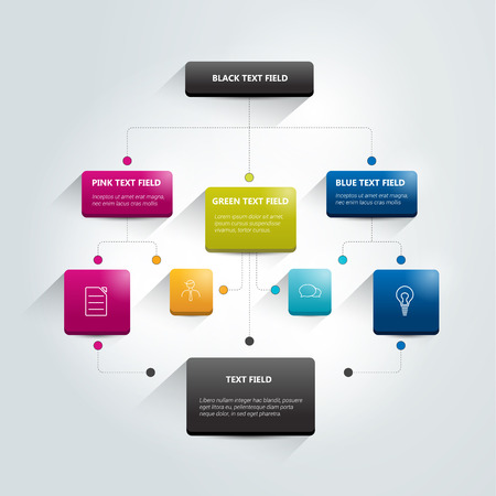 Foto per Infographics flowchart. Colored shadows scheme. - Immagine Royalty Free