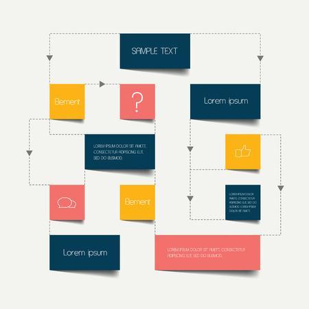 Ilustración de Flow chart scheme. Infographics elements. Vector design. - Imagen libre de derechos