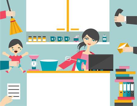 Ilustración de Busy mother multitask woman managing the games work with smile. - Imagen libre de derechos