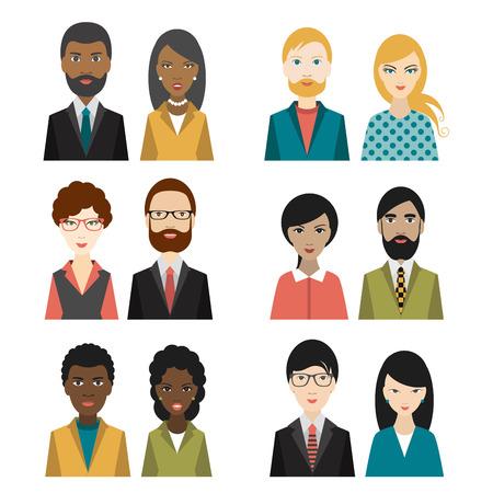 Illustrazione per Set of cultural character heads. Flat illustration. - Immagini Royalty Free
