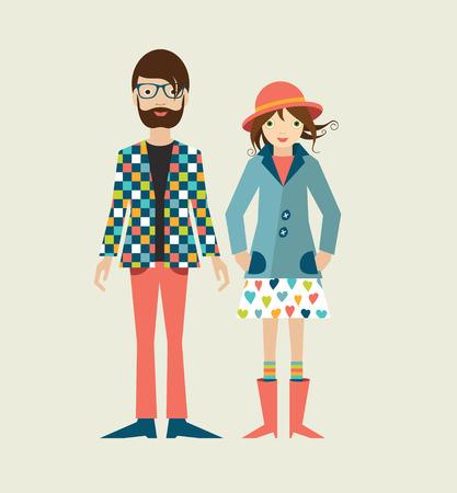 Ilustración de Young hipster couple. Flat illustration. - Imagen libre de derechos