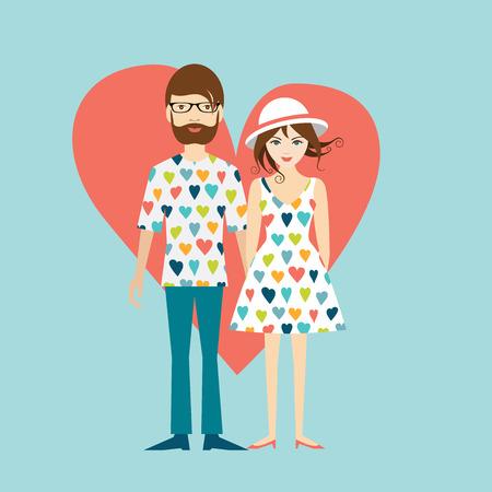 Illustration pour Young hipster wedding couple. Flat illustration. - image libre de droit