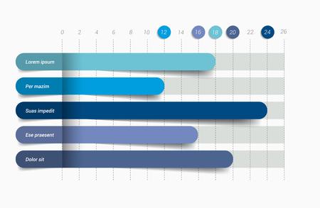 Ilustración de Flat chart, graph. Simply editable color. Infographics elements. - Imagen libre de derechos
