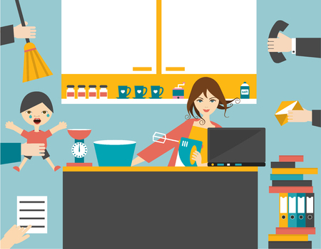Illustrazione per Busy multitask woman, mother managing the games work with smile. - Immagini Royalty Free