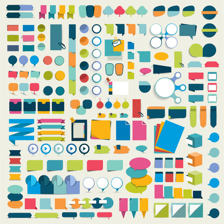 Illustration pour Mega collections of flat infographics design elements, buttons, stickers, note papers, pointers. Vector illustration. - image libre de droit