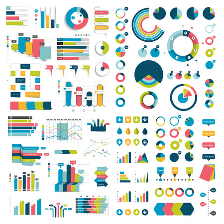 Illustration pour Mega Collection of charts, graphs, flowcharts, diagrams and infographics elements. Infographics in blue color. - image libre de droit
