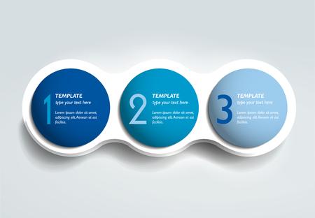 Ilustración de Three steps elements bubble chart, scheme, diagram template. Infographic template. - Imagen libre de derechos