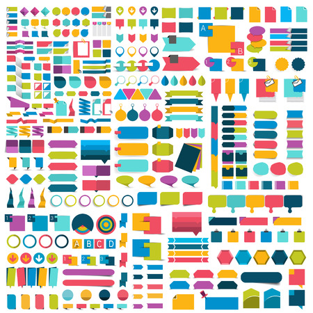 Illustration pour Mega set of flat infographics design elements, schemes, charts, buttons, speech bubbles, stickers. Vector illustration. - image libre de droit