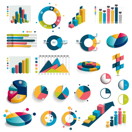 Illustration for Mega set of charts, graphs, charts circle. Flat and 3D design. Vector. - Royalty Free Image