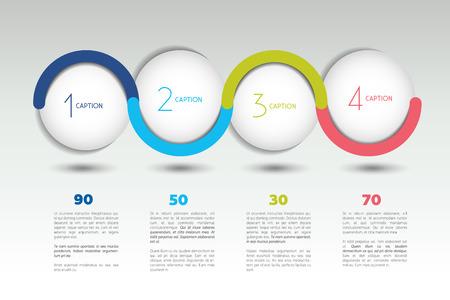 Ilustración de Infographic vector option banner with 4 steps. Color spheres, balls, bubbles. Infographic template. - Imagen libre de derechos