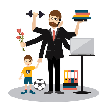 Illustration pour Busy multitasking man, father, dad, daddy, romantic husband, businessman, worker. Young man with son, working, calling and doing exercise at the gym. Flat vector. - image libre de droit