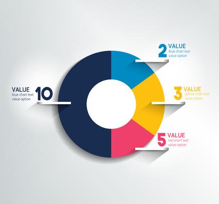Ilustración de Round, circle chart, graph. Simply color editable. Infographics elements. - Imagen libre de derechos