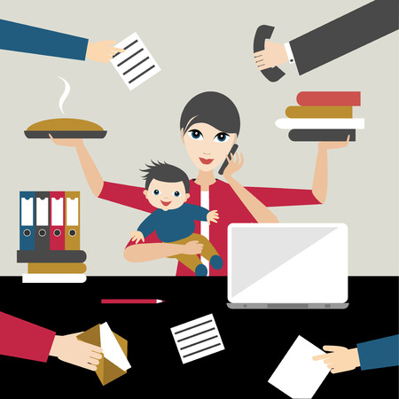 Illustration pour Working mother with child in business offiice. Multitasking person. Flat vector. - image libre de droit