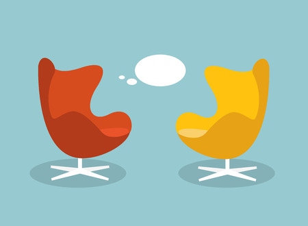 Illustration for Vector illustration of a communication and discussion concept. Retro armchaichr with talk baloon. Flat design vector illustration. - Royalty Free Image