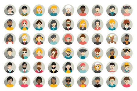 Illustration pour Mega set of circle persons, avatars, people heads  different nationality in flat style. Vector. - image libre de droit