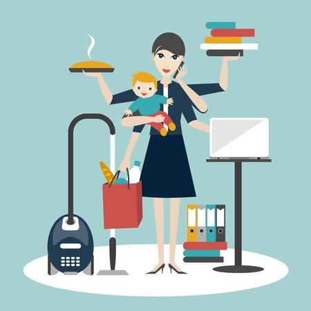 Illustration for Multitask woman. Mother, businesswoman with baby working, coocking and calling. - Royalty Free Image