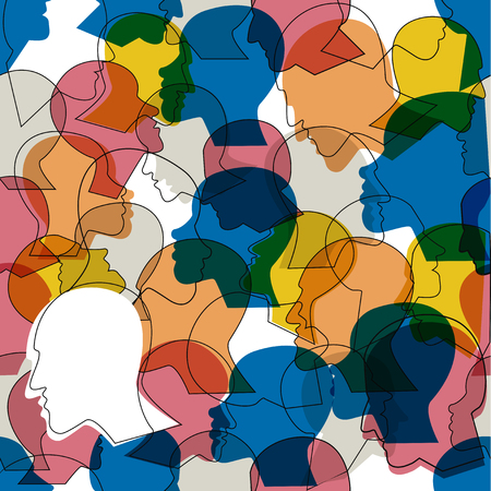 Illustration pour Seamless pattern of a crowd of many different people profile heads. Vector background. - image libre de droit