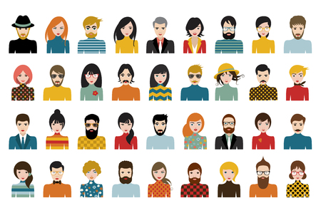 Illustration pour Mega set of persons, avatars, people heads  different nationality in flat style. Vector. - image libre de droit