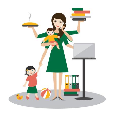 Ilustración de Multitask woman. Mother, businesswoman with baby, older child, working, coocking and calling. Flat vector. - Imagen libre de derechos