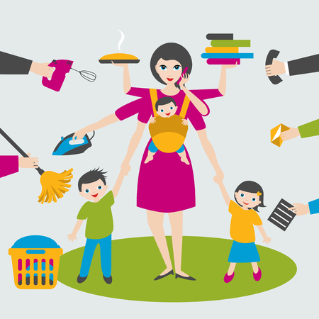 Ilustración de Multitask woman. Mother, businesswoman with children and bab yin sling, ironing, working, coocking and calling. - Imagen libre de derechos