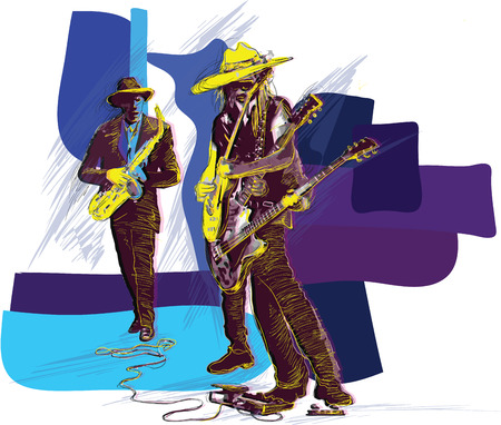 Illustration pour An hand drawn vector illustration. Poster of an musician. Guitar player, guitarist and Sax player, Guitarist in action - motion study of instrument. Jam Session on the Stage. Picture is editable. - image libre de droit