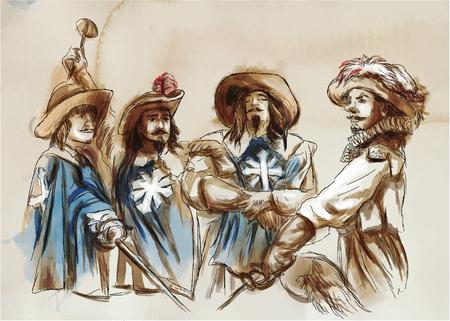 Ilustración de The Three Musketeers. An hand drawn illustration. Freehand drawing, painting. Vector - Imagen libre de derechos