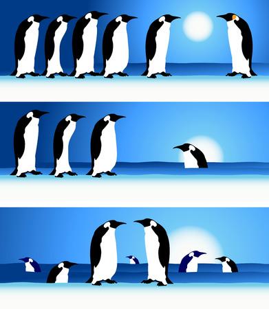 Penguins, winter in Arctic