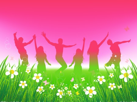 Illustration pour Funny peoples dancing on green field - image libre de droit