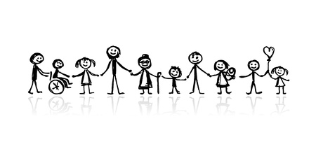 Photo pour Family together, sketch for your design - image libre de droit