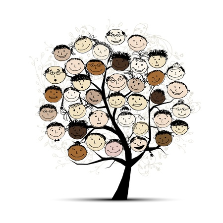 Photo for Tree with people faces for your design - Royalty Free Image