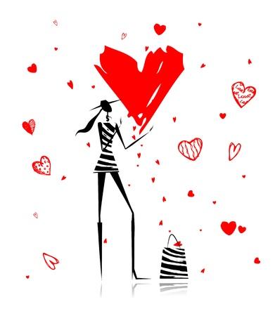 Foto de Valentine day. Fashion girl with big red heart - Imagen libre de derechos