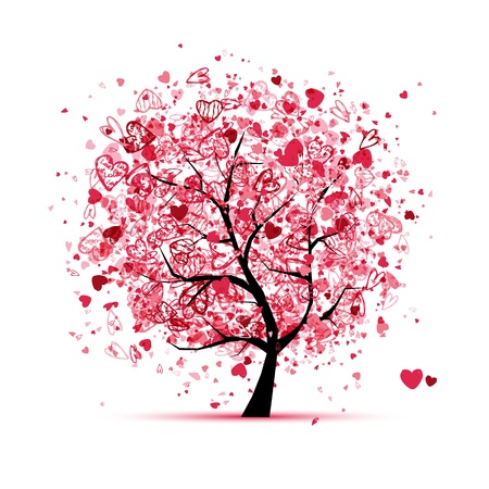 Foto de Valentine tree with hearts for your design - Imagen libre de derechos