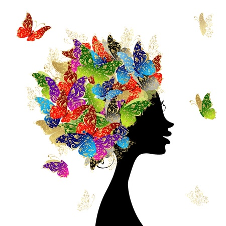 Illustration for Female head with hairstyle made from butterflies for your design - Royalty Free Image