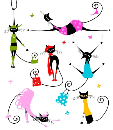 Black cats in fashion clothes for your design