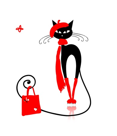 Photo pour Black cat in fashion clothes with shopping bag for your design - image libre de droit